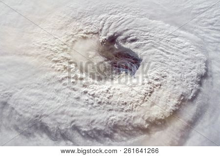 Hurricane Florence Over The Atlantics Close To The Us Coast . Gaping Eye Of A Category 4 Hurricane.