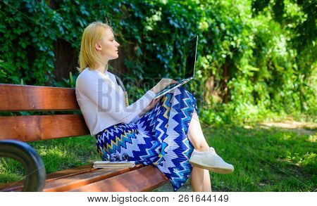 Lady Freelancer Working In Park. Remote Jobs Browse Top Freelance Remote Work Opportunities. Woman W