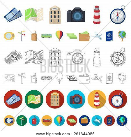 Rest And Travel Cartoon Icons In Set Collection For Design. Transport, Tourism Vector Symbol Stock W
