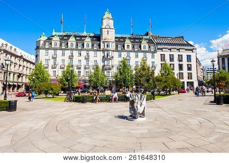 Oslo, Norway - July 20, 2017: Grand Hotel In Oslo, Norway. Grand Hotel Is Best Known As Is The Annua