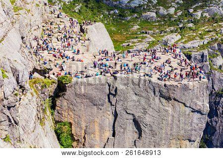 Preikestolen, Norway - July 23, 2017: Tourists At Preikestolen Or Prekestolen Or Pulpit Rock, Famous