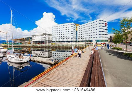 Trondheim, Norway - August 02, 2017: Clarion Hotel And Congress Trondheim, Located By The Harbour In