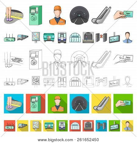 Metro, Subway Cartoon Icons In Set Collection For Design.urban Transport Vector Symbol Stock Web Ill