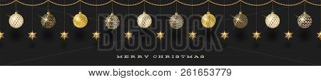 Seamless Frieze With Christmas Decoration - Patterned Baubles With Golden Stars. Vector Illustration