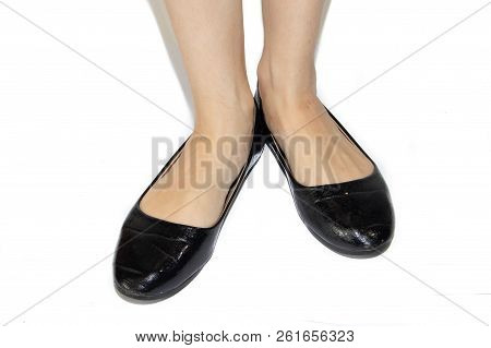 b89fdc6e0 Black Ballet Flats On Female Legs On A White Background. Women's Summer  Footwear. Business