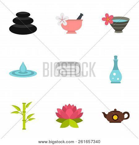 Spa Therapy, Massage, Cosmetics Icons Set. Flat Illustration Of 9 Spa Therapy, Massage, Cosmetics Ic