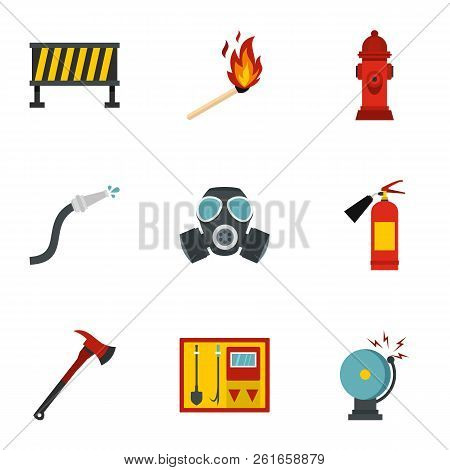 Fire Emergency Icons Set. Flat Illustration Of 9 Fire Emergency Icons For Web
