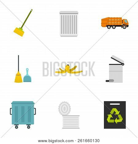 Ecology And Waste Icons Set. Flat Illustration Of 9 Ecology And Waste Icons For Web