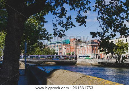 Dublin, Ireland - September 26th, 2018: Detial Of Dublin City Centre Along The River Liffey