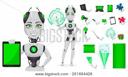 Robot With Artificial Intelligence, Female Bot, Character Creation Set, Pack Of Body Parts, Emotions