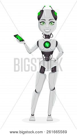 Robot With Artificial Intelligence, Female Bot. Cute Cartoon Character Holding Smartphone. Humanoid