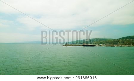 View On Marina And Coast Of Balchik, Bulgaria. Stormy Weather Over Black Sea Coast, Traveling And Na