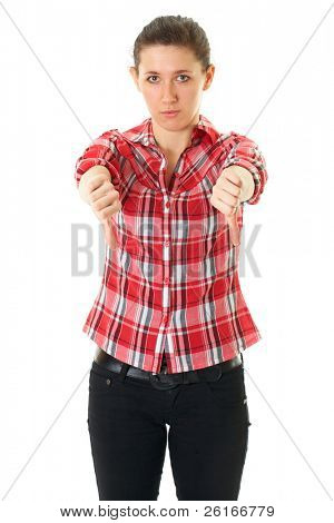 thumbs down, young, unhappy female in red shirt isolated on white