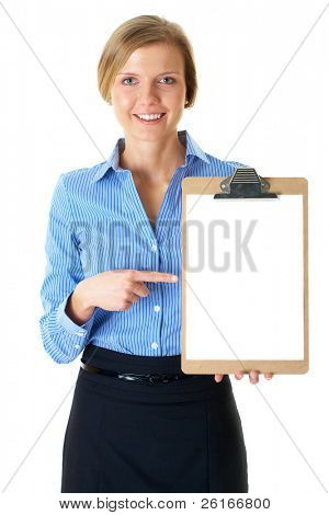 businesswoman in blue stripped shirt holds clipboard with A4 size white card, isolated on white