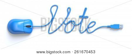 Blue Mouse And Cable In The Shape Of Vote Word - 3d Illustration