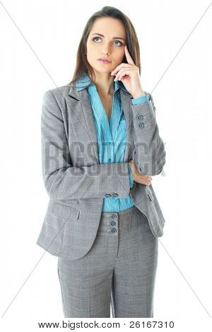 young businesswoman holds her chin, hard decision, studio shoot isolated on white background