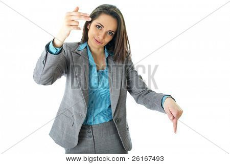 elegant young businesswoman try to call someone or taxi, hand gesture, isolated on white