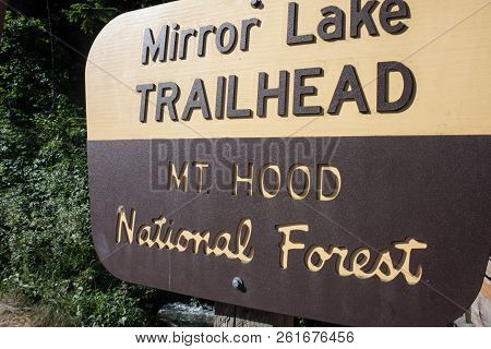 Mirror Lake Trailhead Sign In Oregons Mt. Hood National Forest