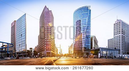 Panoramic View At The Potsdamer Platz At Sunset, Berlin