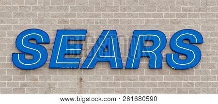 Truro, Canada - November 09, 2013: Sears Store Sign. Sears Is An American And Multinational Departme