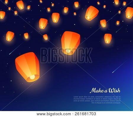 Orange Paper Lanterns Floating At Night In Starry Sky. Vector Illustration. Traditional Design Eleme