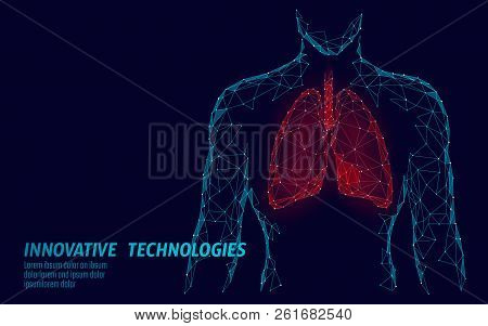 Man Silhouette Healthy Lungs 3d Medicine Model Low Poly. Triangle Connected Dots Glow Point. Online