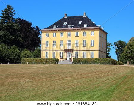 Danish Yellow Historical Castle With White Windows In Luis Seize Style
