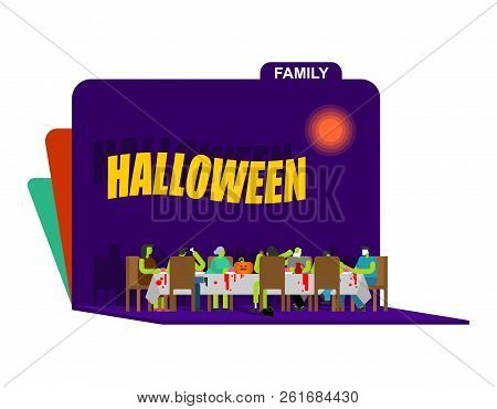 zombie family dinner paper art carving  big table  halloween relatives  celebration  father and