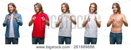 Collage of handsome young man wearing casual look over white isolated backgroud pointing fingers to camera with happy and funny face. Good energy and vibes.