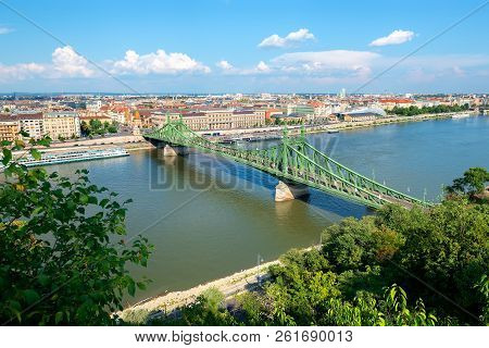 View On Liberty Bridge In Budapest From Above