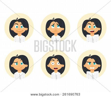 Set Of Business Woman Emotions. Facial Expression. Girl Avatar. Vector Illustration Of A Flat Design