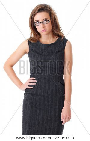 Young disgust and tired businesswoman in black dress over white background