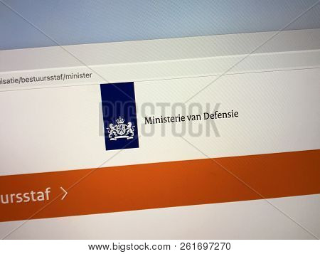 Amsterdam, Netherlands - October 5, 2018: Website Of The Dutch Ministry Of Defence, The Dutch Minist