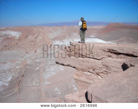 Man At Edge Of Canyon In Chile