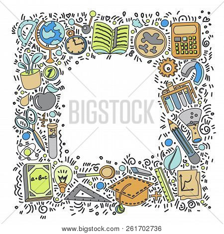 Welcome Back To School Hand Drawn Supply Doodles Background. Vector Illustration Of Cartoon Back To
