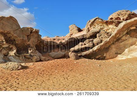 The Sahara Desert, Western White Desert, Gabel El Cristal, Cristal Mountain. Egypt. Africa.