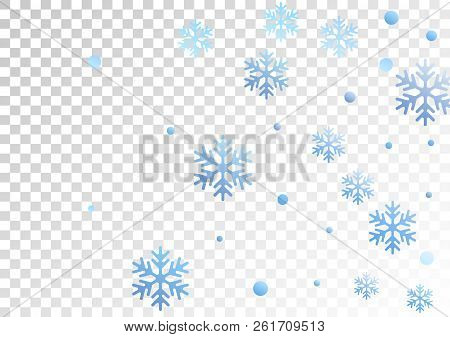 Winter Snowflakes And Circles Border Vector Illustration. Unusual Gradient Snow Flakes Isolated Bann