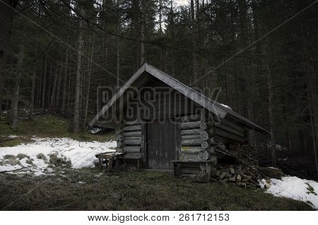 Abandoned Wooden Cottage In The Middle Of The Austrian Forest, Near The Village Ehrwald, On A Cold D