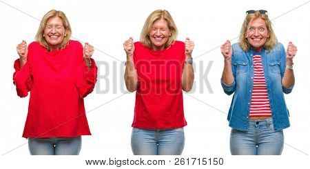 Collage of beautiful middle age blonde woman over white isolated backgroud excited for success with arms raised celebrating victory smiling. Winner concept.