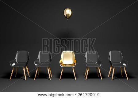 Black Chairs Row, Gold Chair With Balloon, Choice