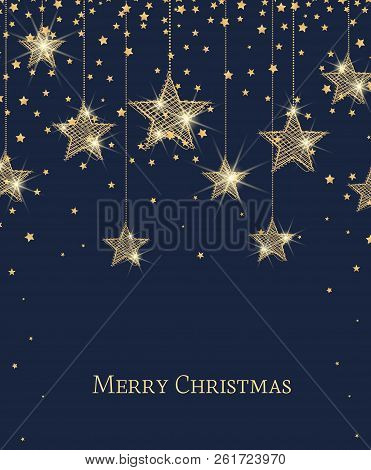 Vector Illustration Of Stars. Merry Christmas Card With Golden Stars. Gold Decoration On A Blue Back