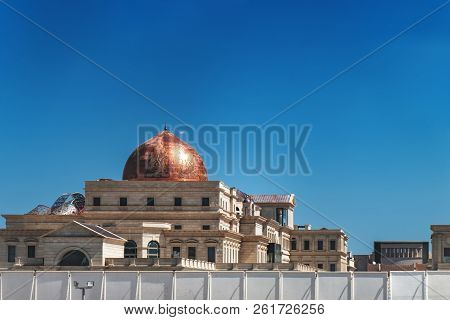 Doha, Qatar - March 3, 2018: Tourist Bus Route In Doha, Qatar. Mosque Is Seen From The Window Of The
