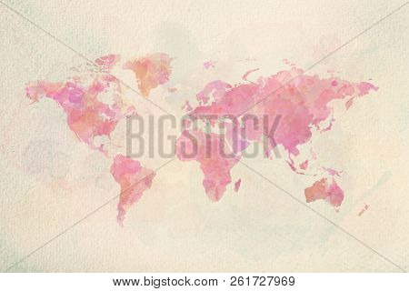 Watercolor vintage world map in pink colors on paper texture. Colorful artistic image of Earth's lands. poster