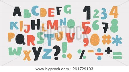 Vector Cartoon Of Bright Alphabet Set. Stylish Letters And Numbers In Different Modern Colors. Carto