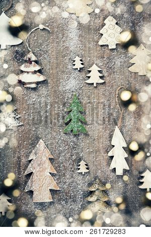 Rustic wood background for Christmas with copy space for all Christmas design. Old wood texture decorated with Christmas decoration theme for wallpaper and product display in Christmas time. Top view