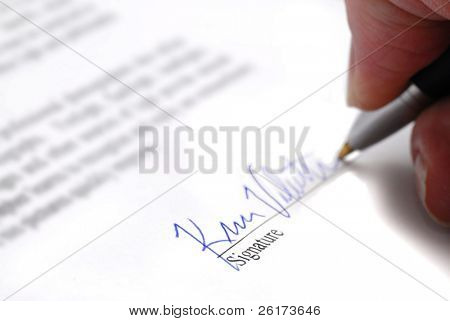 Contract with person signing name on signature line