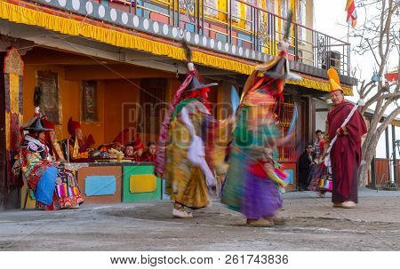 Gangtok, India - December 22, 2011: Unidentified Monks Perform A Religious Masked And Costumed Myste