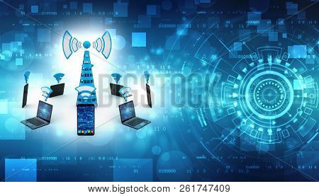 Mobile Phones Around Cell Tower Isolated On Digital Background, Mobile Transmitter, Internet Communi