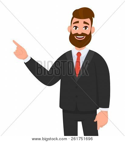 Happy Businessman Pointing Hand Gesture Copy Space To Present Or Introduce Something. Presentation,