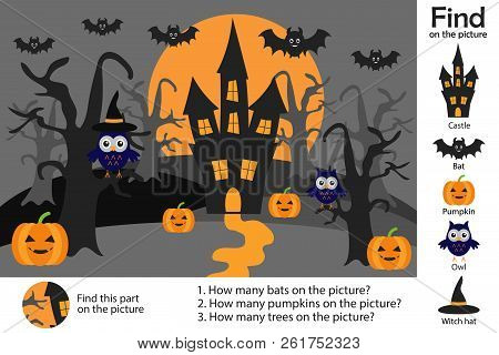 Activity Page, Halloween Picture In Cartoon Style, Find Images, Answer The Questions, Visual Educati